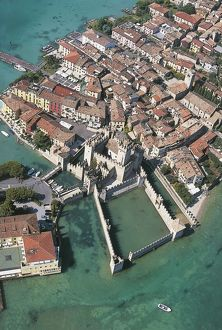 Italy, Lombardy Region, Province of Brescia, Aerial view of Scaligero Castle of Sirmione