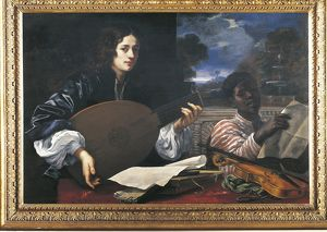 Italy, Lute player and black cantor