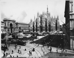 Italy, Milan, Duomo Square, people and trams, 20th century