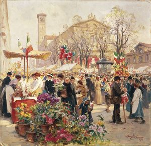 Italy, Milan, Flower Show in Piazza Sant'Angelo, by Achille Beltrame, Painting