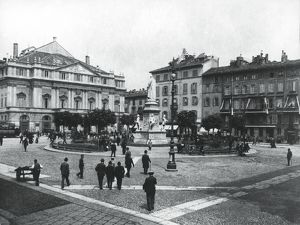 Italy, Milan, Piazza della Scala (Scala Square) at beginning of 1900s