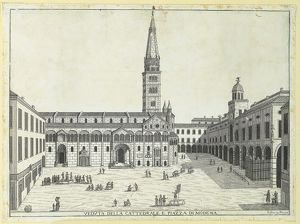 Italy, Modena, Duomo (Cathedral) and Grande Square, with Palazzo Comunale on right