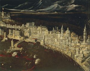 Italy, Naples, bird's eye view, by Francois Didier Nome or Didier Barra know