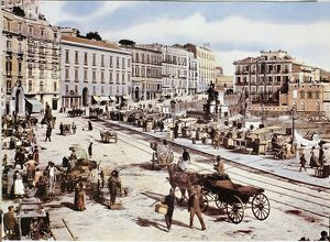 Italy, Naples, Saint Lucia district at the beginning of the 1900s.