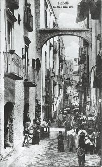Italy, Naples, street at lower harbor, 1914
