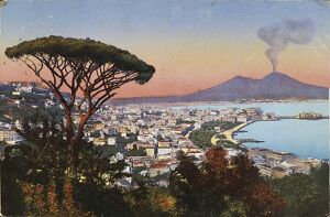 Italy, Naples and Vesuvius from Posillipo Hill, postcard, 20th century