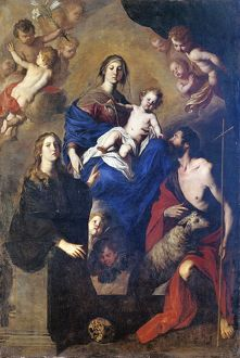 Italy, Palermo, painting of Madonna in Glory with Angels, Saint John the Baptist