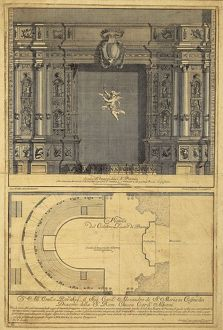 Italy, Parma, Farnese Theatre, plan and prospect