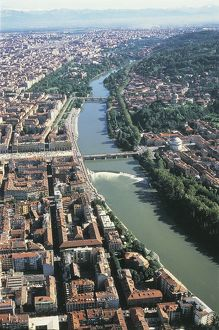 Italy, Piedmont Region, Aerial view of Turin and Po River