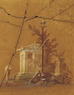 Italy, Rome, Fresco with small temple and prayer from Villa San Marco in Castellamare