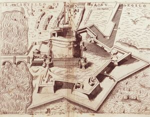 Italy, Rome, layout of Castel Sant'Angelo, engraving