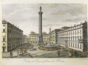 Italy, Rome, Piazza Colonna with Marco Aurelio's Column, engraving