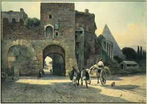 Italy, Rome, Porta San Paolo (St. Paul's Gate) and Pyramid of Caius Cestius