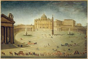Italy, Rome, Saint Peter's Square with Saint Peter's Basilica and Bernini's colonnade