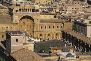 Italy, Rome, Vatican City, Aerial view of court of Pigna in Vatican Museums