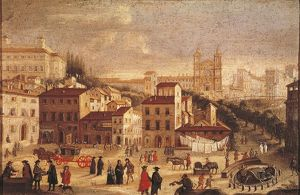 Italy, Rome, view of Piazza di Spagna in 1600 by unknown artist