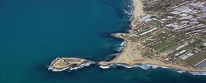 Italy, Sicily Region, Aerial view of the Isola delle Correnti (island)