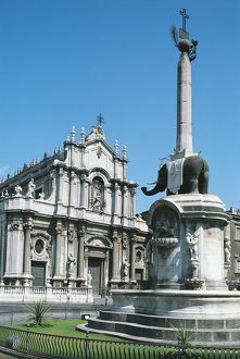 Italy, Sicily Region, Catania Province, Catania, Catania Cathedral and Elephant Back