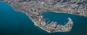 Italy, Sicily Region, port of Messina, aerial view