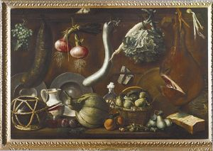 Italy, Sideboard with Crockery, Fruit, Vegetables, Sausage and ham
