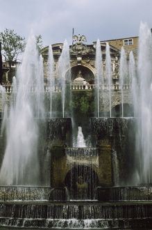 Italy, Tivoli, Water Organ Fountain and Fountain of Neptune at Villa d'Este