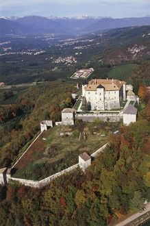 Italy, Trentino-Alto Adige Region, Province of Trento, Aerial view of Cles Castle
