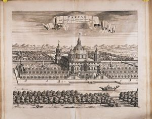 Italy, Turin, Royal Park, Castle (destroyed in 1706) by anonymous artist, engraving