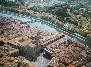 Italy, Tuscany Region, Florence, Aerial view of historic centre wirth river Arno