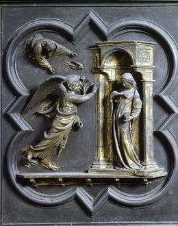 Italy, Tuscany Region, Florence bronze door panel at Baptistery