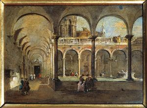 Italy, Venice, The Friars' Cloister painting