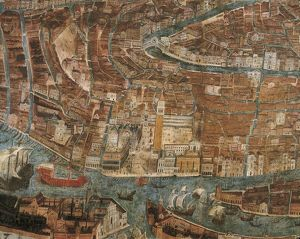 Italy, Venice, detail with St. Mark's Square, birds eye view, 16th century