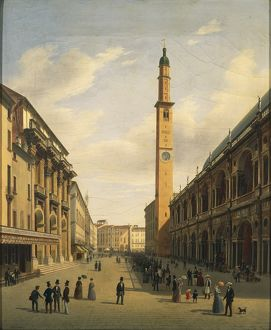 art/painting sculpture prints 19th century/italy vicenza piazza dei signori basilica palladiana