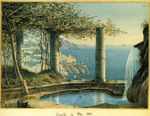 Italy, View of Amalfi in May 1831 by Felix Mendelssohn Bartholdy (1809-1847), watercolor
