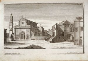 Italy, Viterbo, Saint Lawrence's Cathedral and t Bishop's Palace, engraving