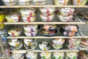 Japan, Tokyo, ready-to-eat, boxed food on supermarket shelves
