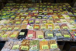 Japan, Tokyo, Taito-ku, Ueno, Ameyoko, dried food and spices laid out at stall