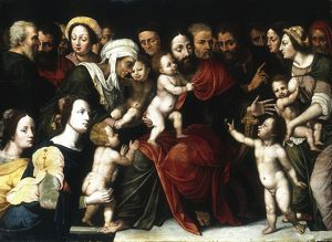 Jesus with the Little Children'. Artist, Vincent Sellaer (c1500-1589)