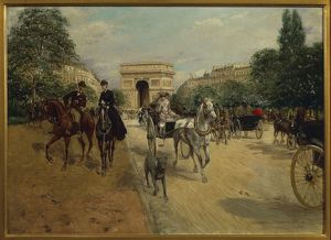 Knights and carriages on Bois de Boulogne Avenue, with Arc de Triomphe in background