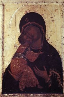 Our lady of vladimir' icon by andrei rublyov, 1408.