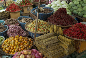 Laos, Bolaven Plateau, Thateng market, variety of fresh local produce
