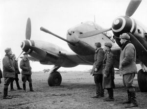 The latest type of 'messerschmitt' captured by soviet troops on an enemy airdrome