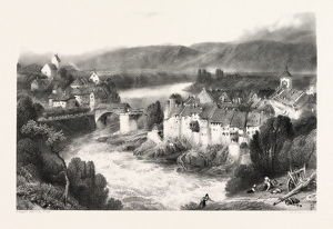 Lauffenberg, Laufenburg, Germany, Switzerland, 19th century engraving