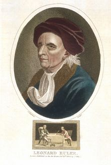 Leonhard (1707-1783) Euler. Swiss mathematician. Hand-coloured engraving, London, 1816