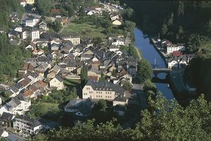 Luxembourg, Oesling, Aerial view of Vianden and river Our