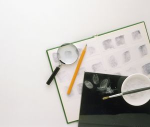 Magnifying glass, pencil, ink pad, talc, paintbrush, and notebook of fingerprints