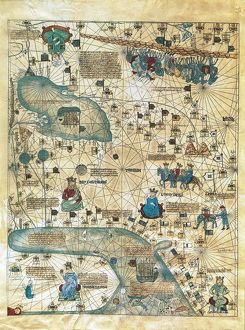 Map of Cathay, China, from Catalan Atlas created for Charles V, King of France, attributed