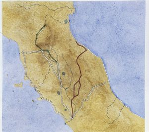 Map of central Italy depicting two Roman roads: Via Flaminia (220 BC) and Via Flaminia Minor
