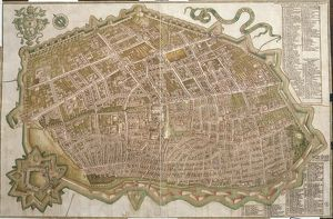 Map of city of Ferrara, by Andrea Bolzoni, drawing