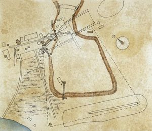 Map of the forums and the Palatine Hill, drawing