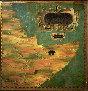 Map of the Horn of Africa, oil painting by Stefano Buonsignori 1575-1584